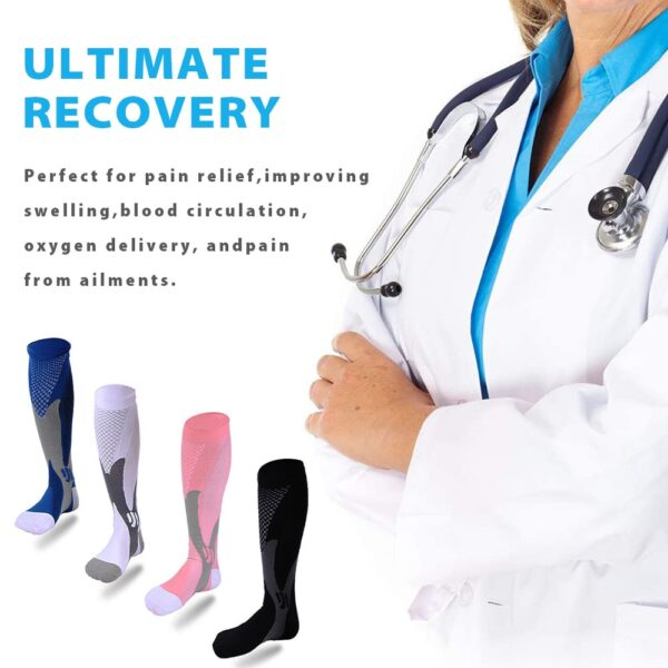 Leg Support Stretch Compression Socks For Men Women Sports Running Athletic Medical Pregnancy Travel Football School Team Sock